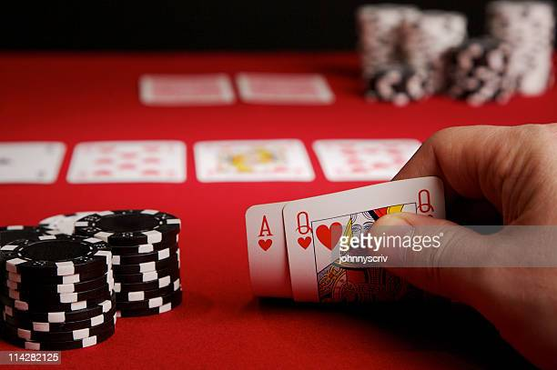 ace queen... - texas hold 'em stock pictures, royalty-free photos & images