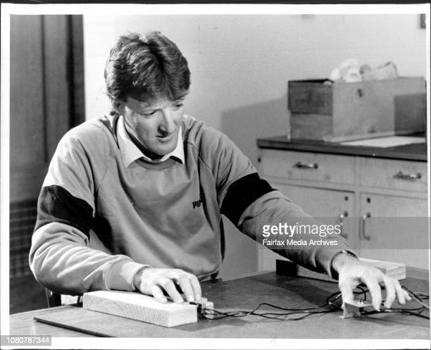 Ace Test Bowler Geoff Lawson undergoing reflex and response tests at Sydney University July 15 1986