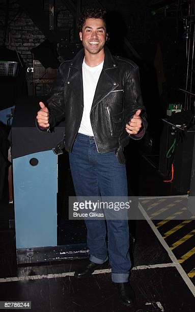 Ace Young of American Idol Season 5 poses backstage as he makes his Broadway Debut as Kenickie in the Broadway production of Grease at the Brooks...