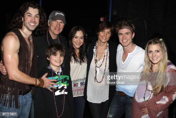 """Ace Young, Richard Gere, son Homer Gere, Diana DeGarmo, Carey Lowell, Kyle Riabko and Annaleigh Ashford pose backstage at the hit musical """"Hair"""" on..."""