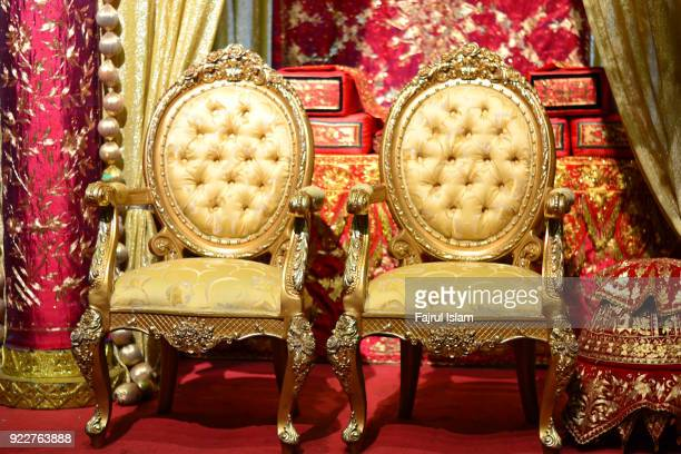 acehnes wedding throne - throne stock pictures, royalty-free photos & images