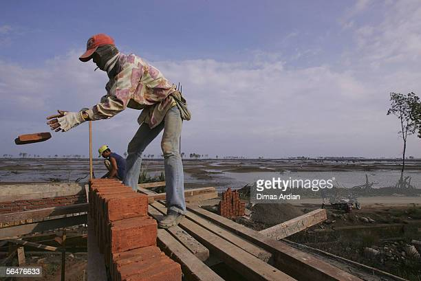 Acehnese build new houses December 21, 2005 in Banda Aceh, Indonesia. Indonesia's Rehabilitation and Reconstruction Agency reported that 67,000...
