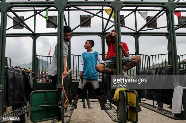 Acehnese child jockey compete during traditional horse race in Takengon on August 27 2017 in Aceh Province Indonesia The traditional horse racing in...
