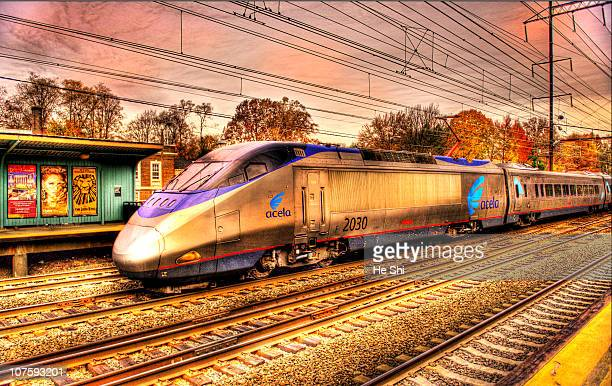 Acela - Acceleration and Excellence. Amtrak Acela 2030 high-speed tilting train, 150 MPH. Washington DC Bound, NEC, HDR Treated, Metuchen Rail...