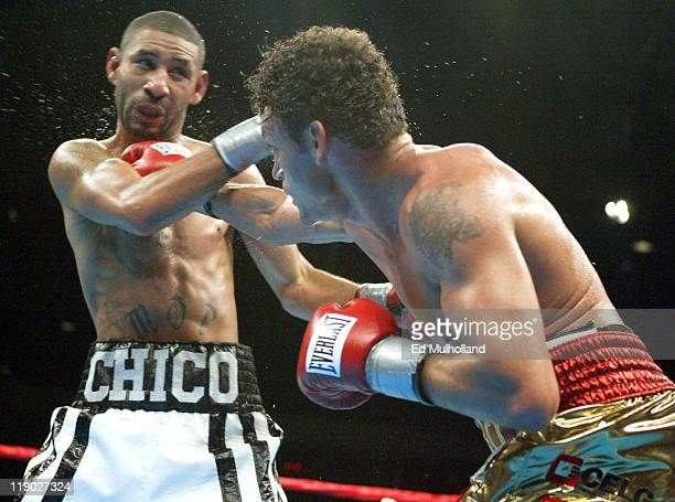 Acelino Freitas lands a right to the head of Diego Corrales during their WBO Lightweight Championship bout at Foxwoods Casino Corrales won the title...