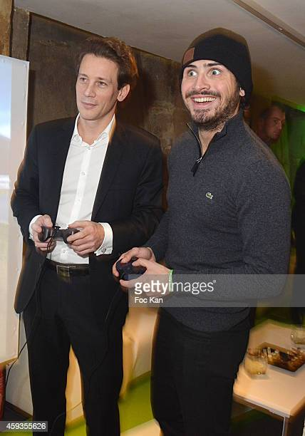 Acer Marketing director Fabrice Massin and Maxime Musqua attend the Acer Pop Up Store Launch Party at Les Halles on November 20, 2014 in Paris,...