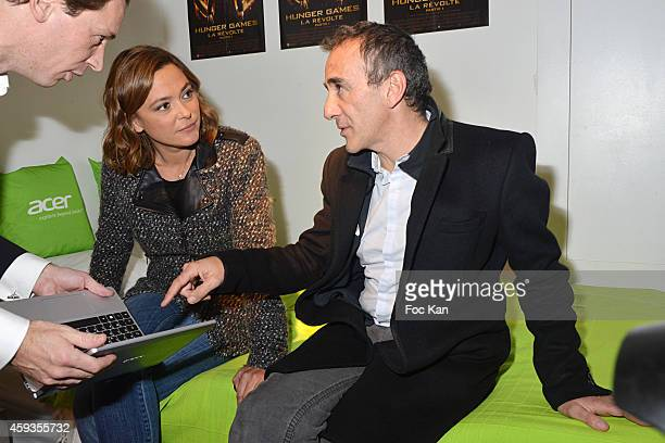 Acer Marketing director Fabrice Massin Sandrine Quetier and Elie Semoun attend the Acer Pop Up Store Launch Party at Les Halles on November 20 2014...