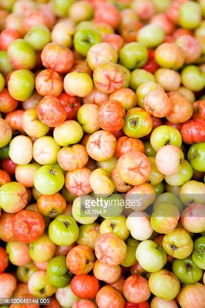 Acerola (Malpighia glabra) berries, full frame