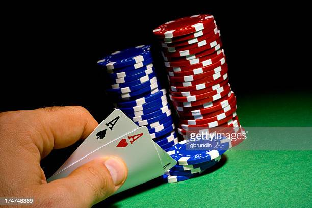aces bet - texas hold 'em stock photos and pictures