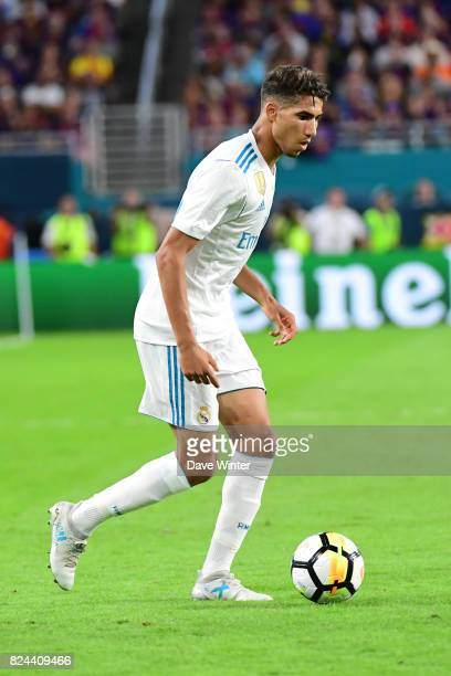 Achaf Hakimi of Real Madrid during the International Champions Cup match between Barcelona and Real Madrid at Hard Rock Stadium on July 29 2017 in...