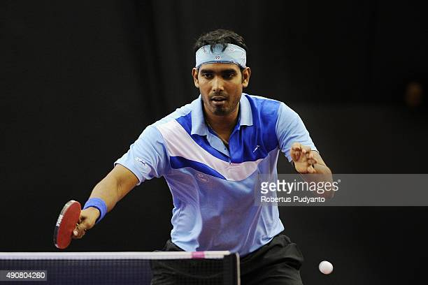 Achanta Sharath Kamal of India competes against Wong Chun Ting of Hong Kong during Men's singles round 32 match of the 22nd 2015 ITTF Asian Table...