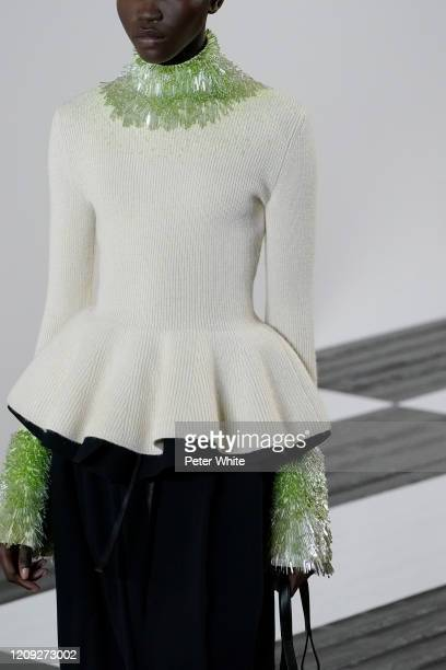 Achenrin Madit, fashion detail, walks the runway during the Loewe show as part of the Paris Fashion Week Womenswear Fall/Winter 2020/2021 on February...