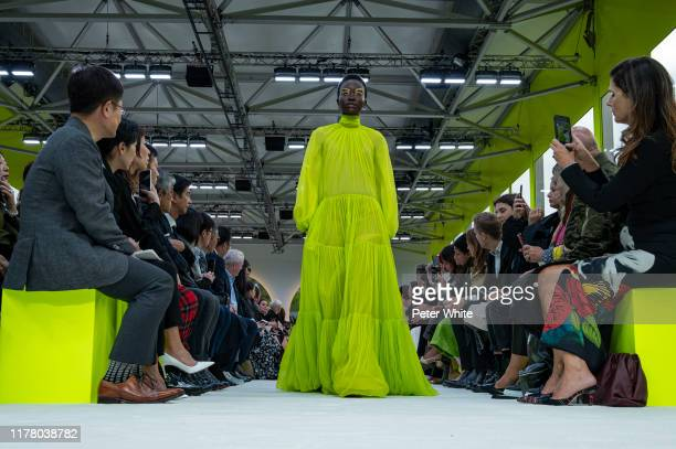 Achenrin Madit walks the runway during the Valentino Womenswear Spring/Summer 2020 show as part of Paris Fashion Week on September 29, 2019 in Paris,...