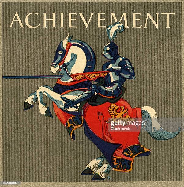 Achievement' vintage illustration with a knight on a rearing horse 1923