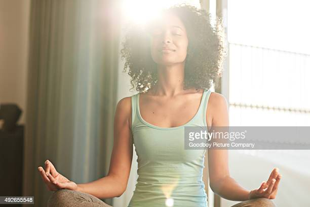 achieving health and happiness through yoga - mindfulness stock pictures, royalty-free photos & images