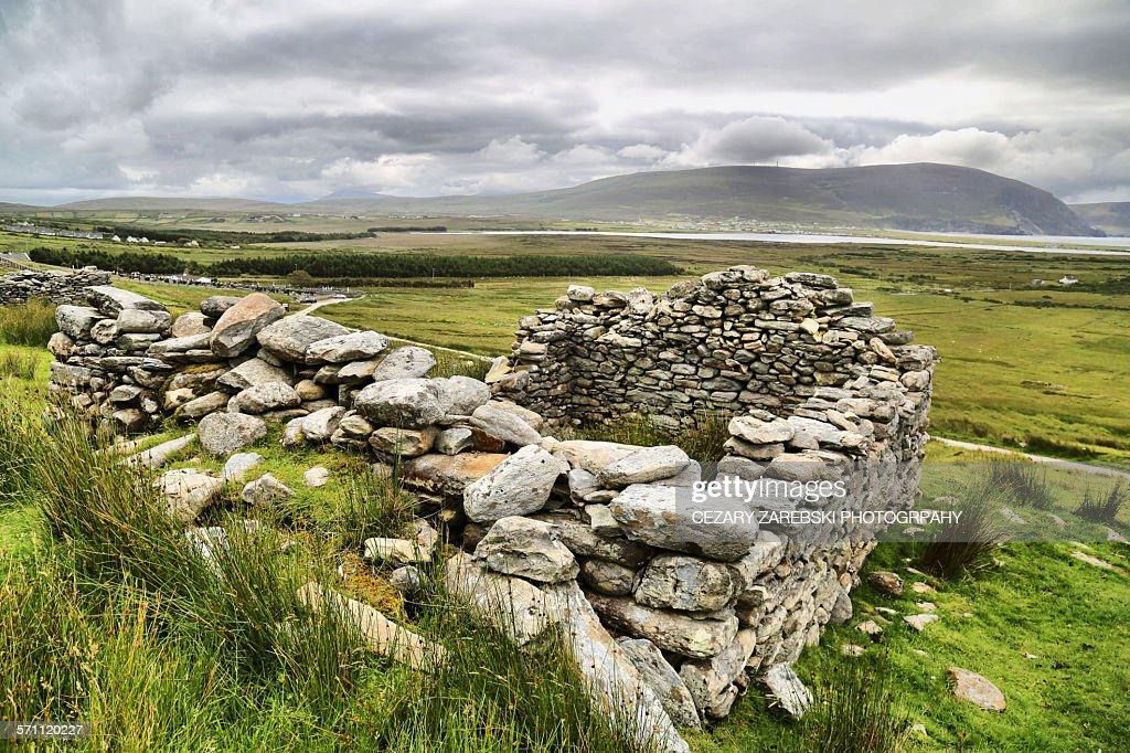 Achill Island / deserted village : Stock Photo
