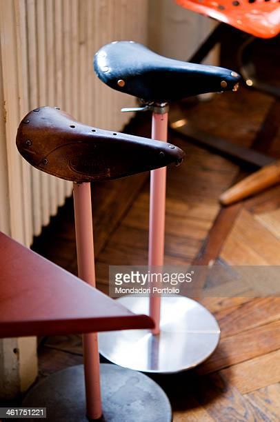 Achille Castiglioni Studio Museum interiors Detail of the readymade stool Sella designed by Achille Castigloni and Pier Giacomo Castiglioni Milan...