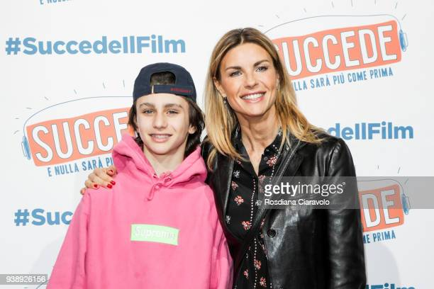 Achille Costacurta and Martina Colombari attend 'Succede' photocall on March 27 2018 in Milan Italy