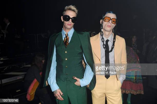 Achille Lauro and Boss Doms are seen on Gucci Front Row during Milan Fashion Week Fall/Winter 2020/21 on February 19 2020 in Milan Italy