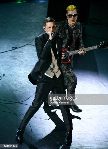 Achille Lauro and Boss Doms on stage during the closing night of the 69th Sanremo Music Festival at Teatro Ariston on February 09 2019 in Sanremo...