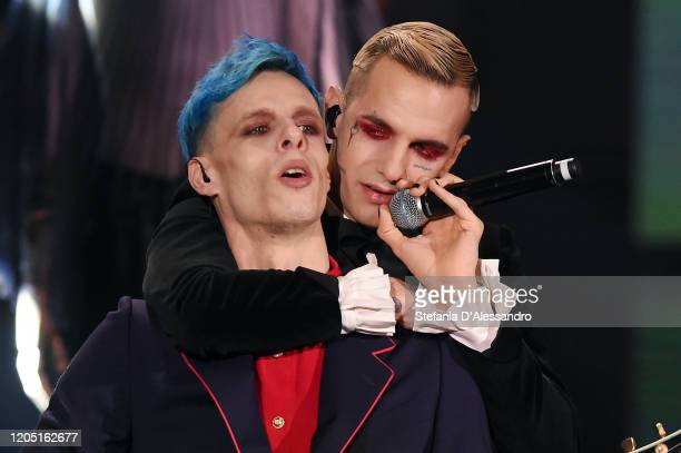 Achille Lauro and Boss Doms perform live at Che Tempo Che Fa TV Show on February 09 2020 in Milan Italy