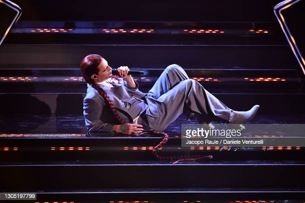 Achille Lauro is seen on stage at the 71th Sanremo Music Festival 2021 at Teatro Ariston on March 03, 2021 in Sanremo, Italy.