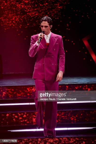 Achille Lauro is seen on stage during at the 71th Sanremo Music Festival 2021 at Teatro Ariston on March 06, 2021 in Sanremo, Italy.