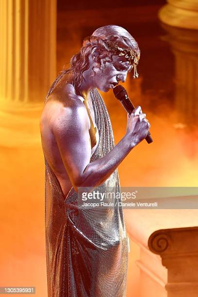 Achille Lauro is seen on stage during the 71th Sanremo Music Festival 2021 at Teatro Ariston on March 04, 2021 in Sanremo, Italy.
