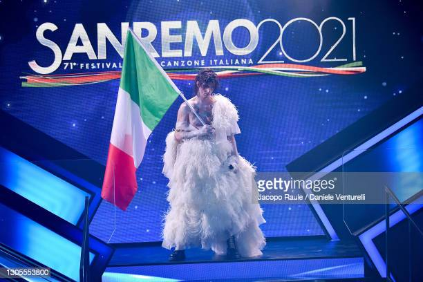 Achille Lauro is seen on stage during the 71th Sanremo Music Festival 2021 at Teatro Ariston on March 05, 2021 in Sanremo, Italy.