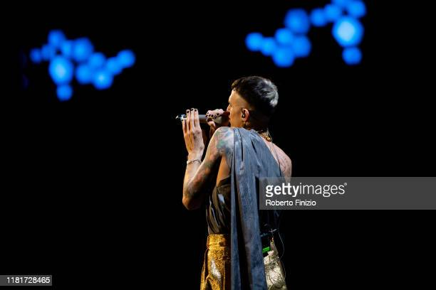 Achille Lauro performs at Tenco Prize 2019 at Teatro Ariston on October 17 2019 in Sanremo Italy