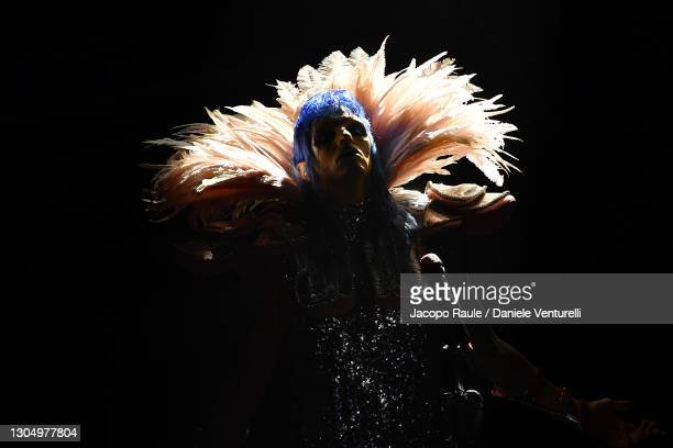 Achille Lauro performs at the 71th Sanremo Music Festival 2021 at Teatro Ariston on March 02, 2021 in Sanremo, Italy.