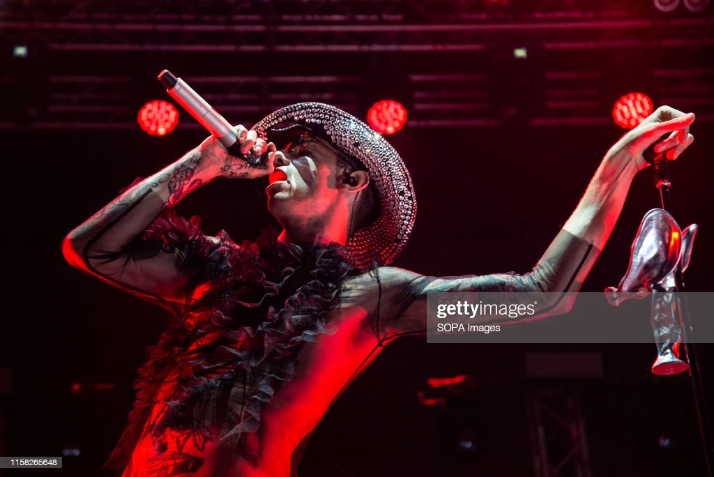 Achille Lauro performs live on stage during the Gru Village... : News Photo