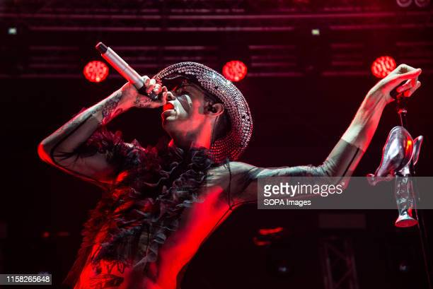 Achille Lauro performs live on stage during the Gru Village Festival in Turin