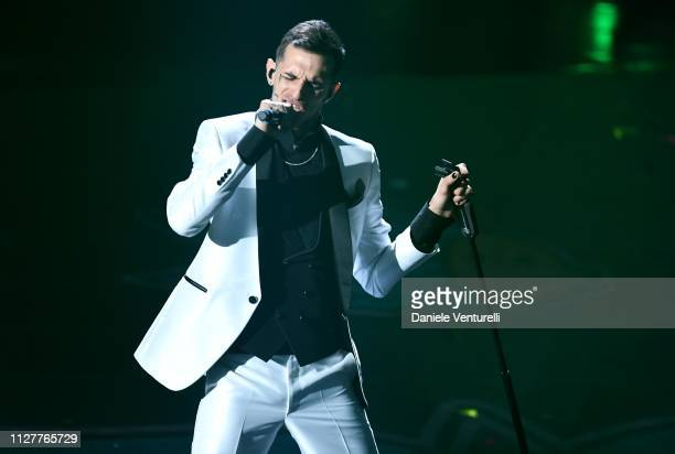 Achille Lauro performs on stage during the first night of the 69th Sanremo Music Festival at Teatro Ariston on February 05 2019 in Sanremo Italy