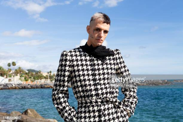 Achille Lauro poses before the Tenco Prize 2019 on October 17, 2019 in Sanremo, Italy.