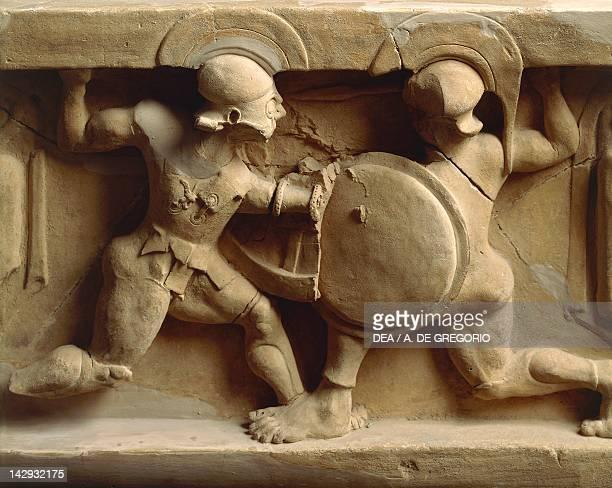 Achilles and Memnon in combat clay arula unearthed in Locri Calabria Italy Ancient Greek civilization Magna Graecia Reggio Di Calabria Museo...