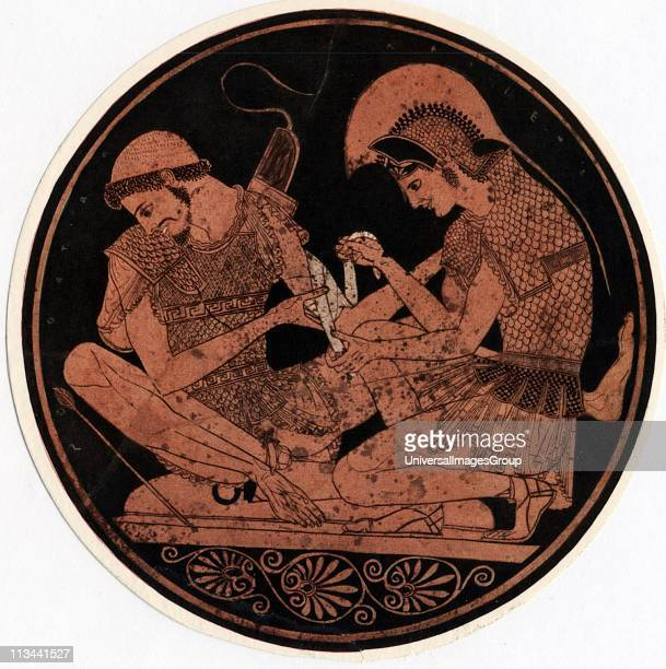 Achilles hero of Homer's epic poem Iliad bandaging the wound of his firend Patroclus Decoration on the base of an antique vase