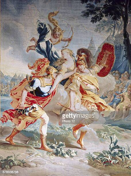 Achilles pursuing Paris saved by Venus Detail of a tapestry by the workshop of JeanFrancois and Pierre Van den Borght c1740 Tapestry located in the...
