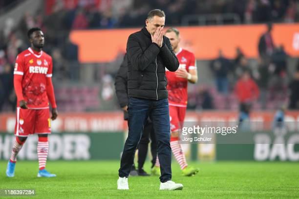 Achim Beierlorzer, Head Coach of 1. FC Koeln looks dejected following his team's defeat in the Bundesliga match between 1. FC Koeln and TSG 1899...