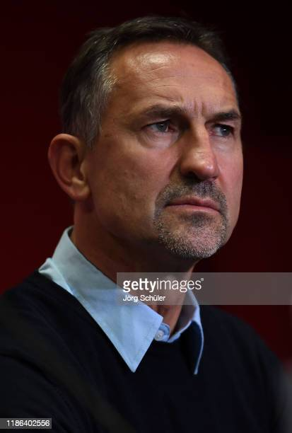 Achim Beierlorzer, Head Coach of 1. FC Koeln looks on during a press conference following the Bundesliga match between 1. FC Koeln and TSG 1899...