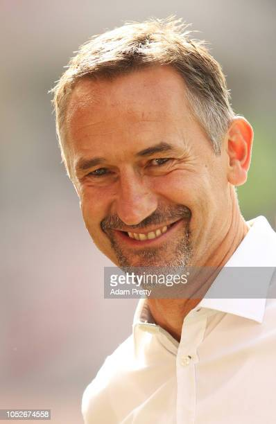 Achim Beierlorzer head coach of Jahn Regensburg smles before the Second Bundesliga match between SSV Jahn Regensburg and SV Darmstadt 98 at...