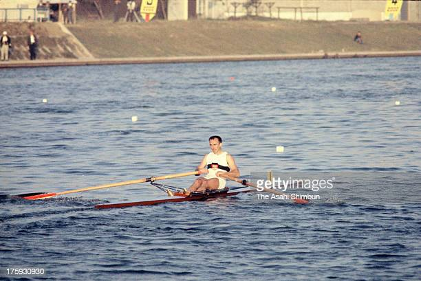 Achim Hill of Germany reacts after winning the silver medal after the Men's Single Scull at Toda Boat Course during the Tokyo Olympic on October 15...
