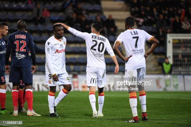 Achraf Bencharki and Thierry Ambrose of Lens during the Ligue 2 match between Chateauroux and Lens on April 8 2019 in Chateauroux France