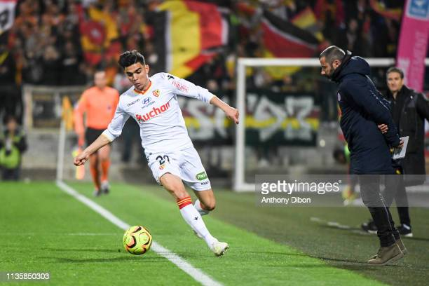 Achraf Bencharki of Lens and Nicolas Usai coach of Chateauroux during the Ligue 2 match between Chateauroux and Lens on April 8 2019 in Chateauroux...
