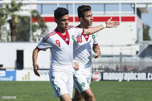 Achraf Bencharki of Morocco U21 Aymane El Hassouni of Morocco U21 during the Festival International Espoirs de Football tournament match between...
