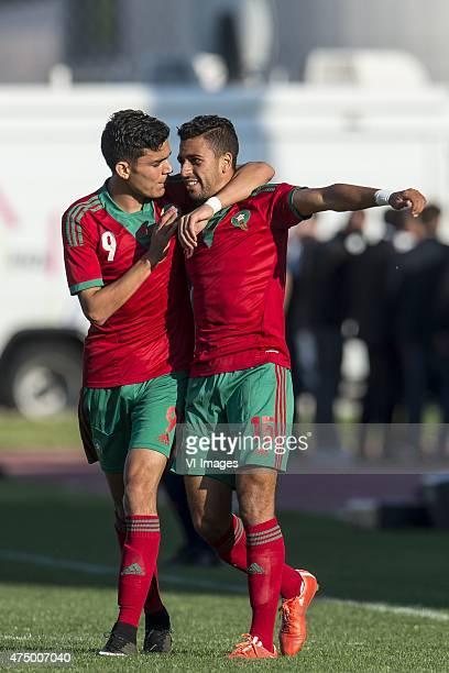 Achraf Bencharki of Morocco U21 Reda Hajhouj of Morocco U21 during the Festival International Espoirs de Football tournament match between...