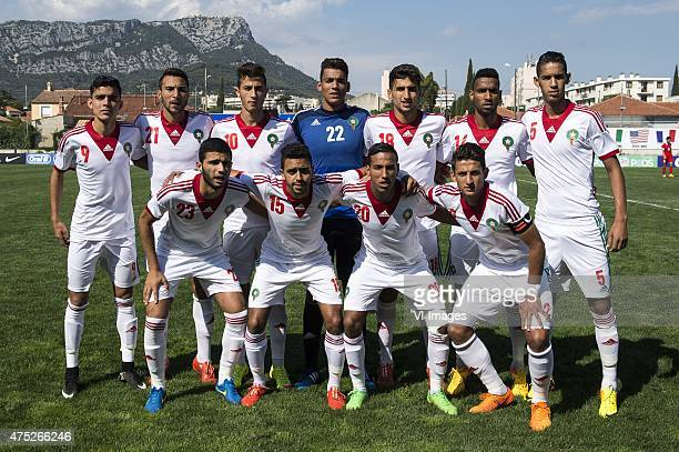 Achraf Bencharki of Morocco U21 Saad Ait Khorsa of Morocco U21 Aymane El Hassouni of Morocco U21 goalkeeper Ahmed Reda Tagnaouti of Morocco U21 Walid...