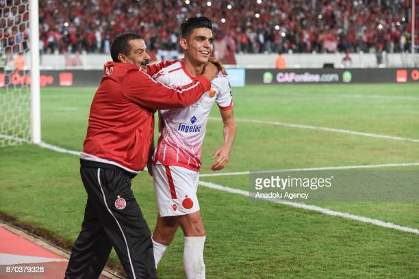 Achraf Bencharki of Wydad Casablanca celebrates after winning 10 in the CAF African Champions League match against Al Ahly at the Stade Mohammed V in...