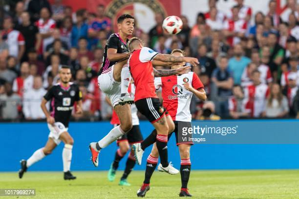 Achraf El Mahdioui of AS Trencin Jordy Clasie of Feyenoord Jens Toornstra of Feyenoord during the UEFA Europa League third round qualifying second...