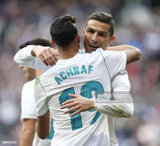 Achraf Hakimi and Cristiano Ronaldo of Real Madrid celebrate after scoring during the La Liga match between Real Madrid and Sevilla at Estadio...